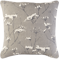 Beaded Wildflower Pillow (Gray) - Sarah Virginia Home