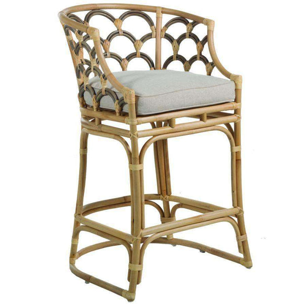 Scalloped Rattan Counter Stool - Sarah Virginia Home