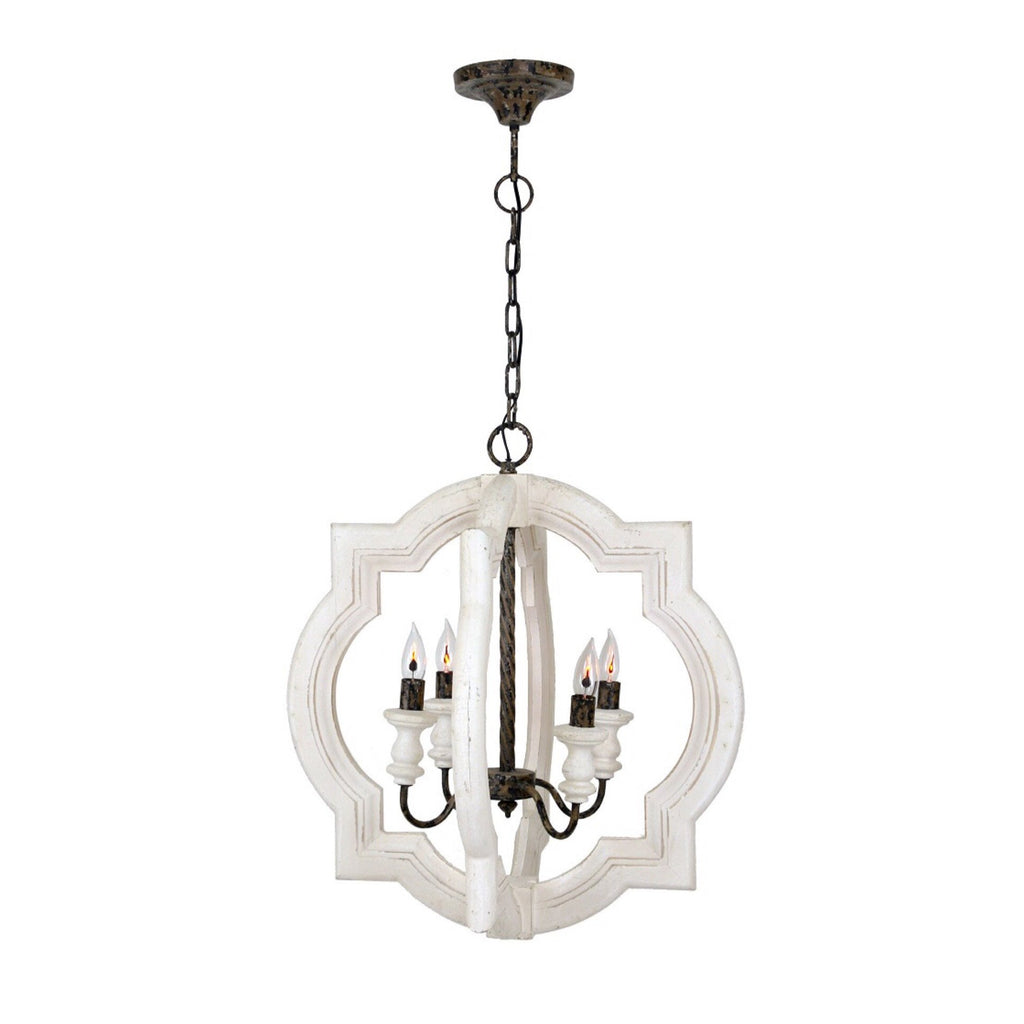 Painted Quatrefoil Lantern (White) - Sarah Virginia Home