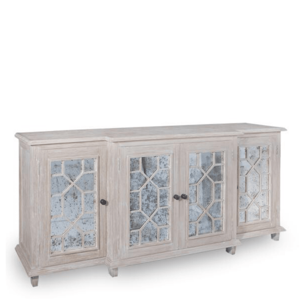 Whitewash Breakfront Buffet - Sarah Virginia Home