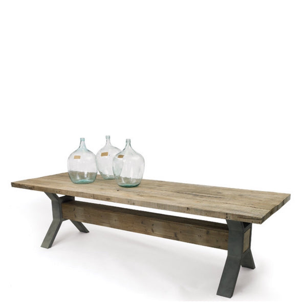 Steel and Pine Trestle Table - Sarah Virginia Home