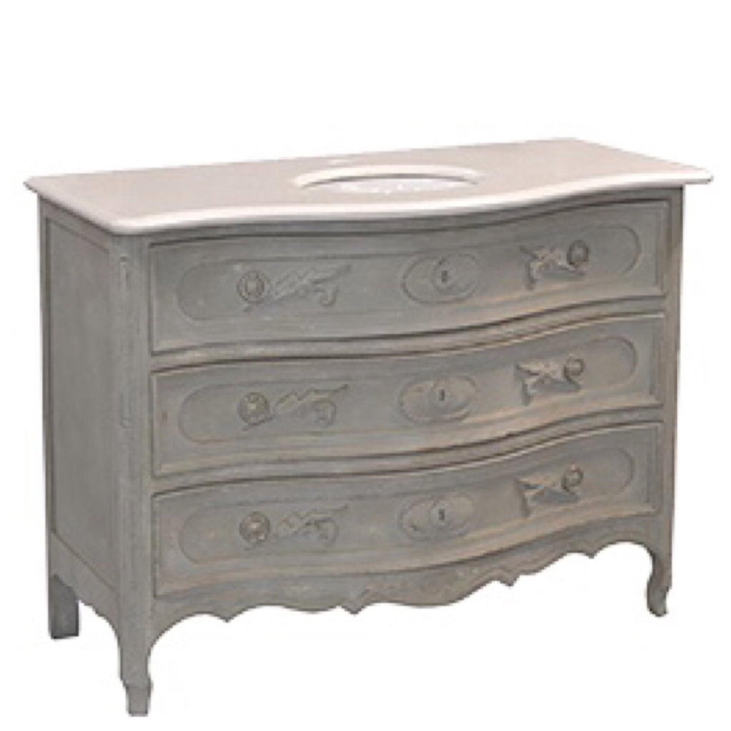 French Gray and Marble Vanity - Sarah Virginia Home
