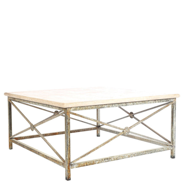 Iron and Stone Coffee Table - Sarah Virginia Home