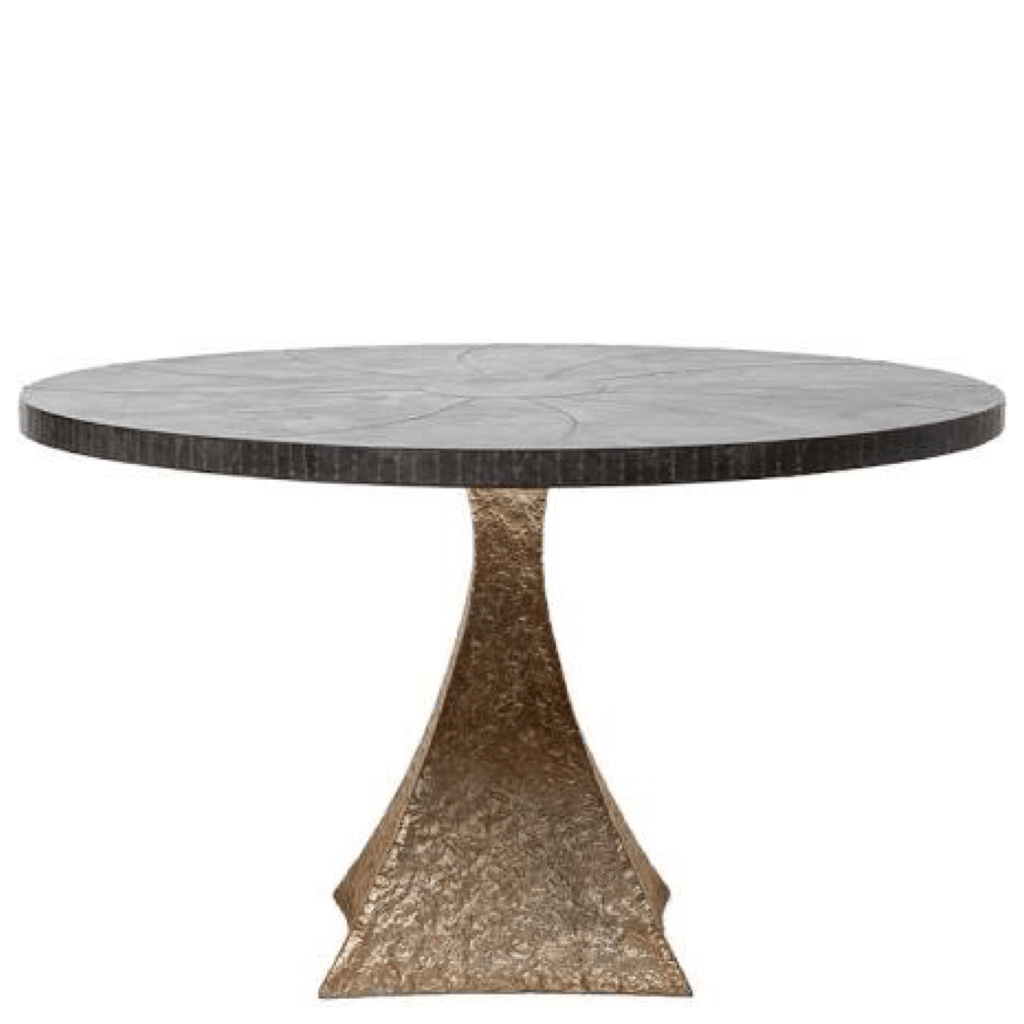 Black and Metallic Iron Round Dining Table
