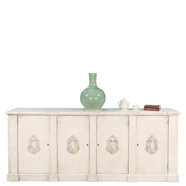 Crested White Cabinet - European Inspired Sideboard