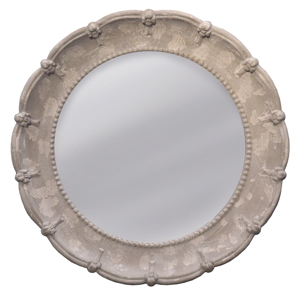 Carved Edge Round Mirror - Sarah Virginia Home