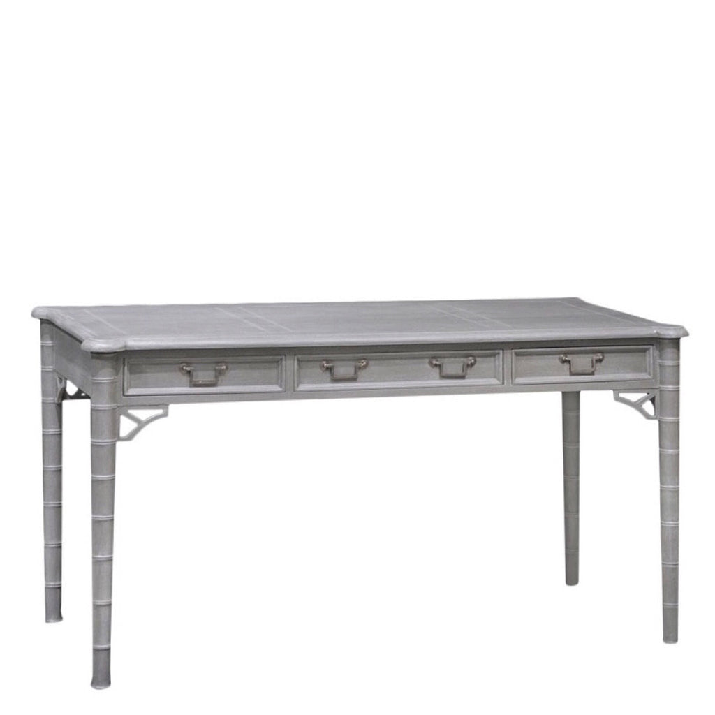 Gray Carved Bamboo Desk - Sarah Virginia Home