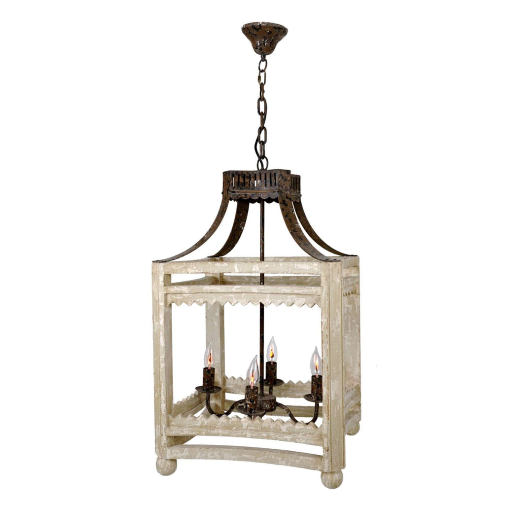 Farmhouse Lantern (Distressed Ivory) - Sarah Virginia Home