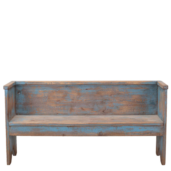Beach House Bench - Sarah Virginia Home - Coastal bench - distressed blue bench - entryway bench