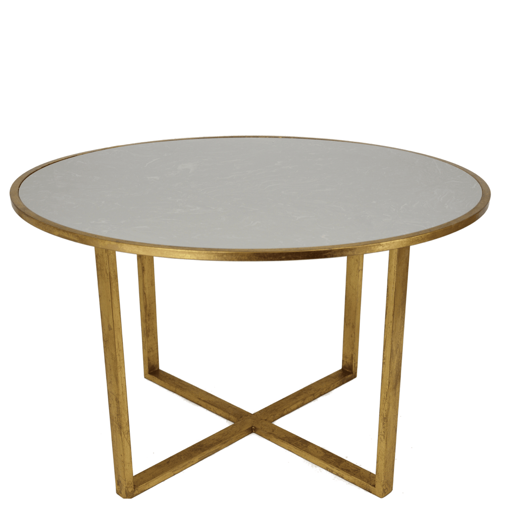 "Quartz and Gold Leaf Dining Table (48"") - Sarah Virginia Home"