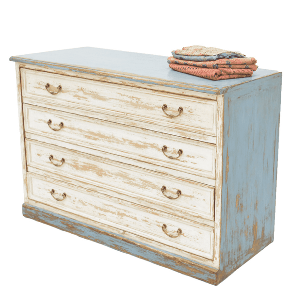 Distressed Blue and White Dresser