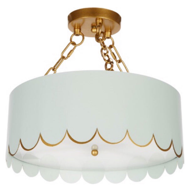 Scalloped Semi-Flush Mount (Blue) - Sarah Virginia Home