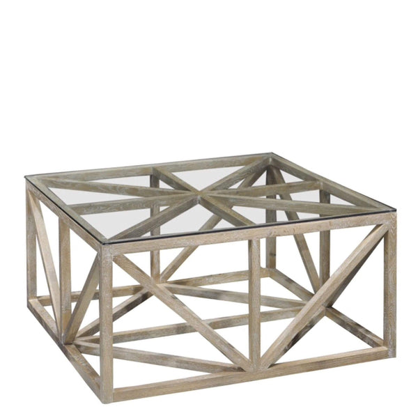 Geometric Glass Top Coffee Table - Sarah Virginia Home