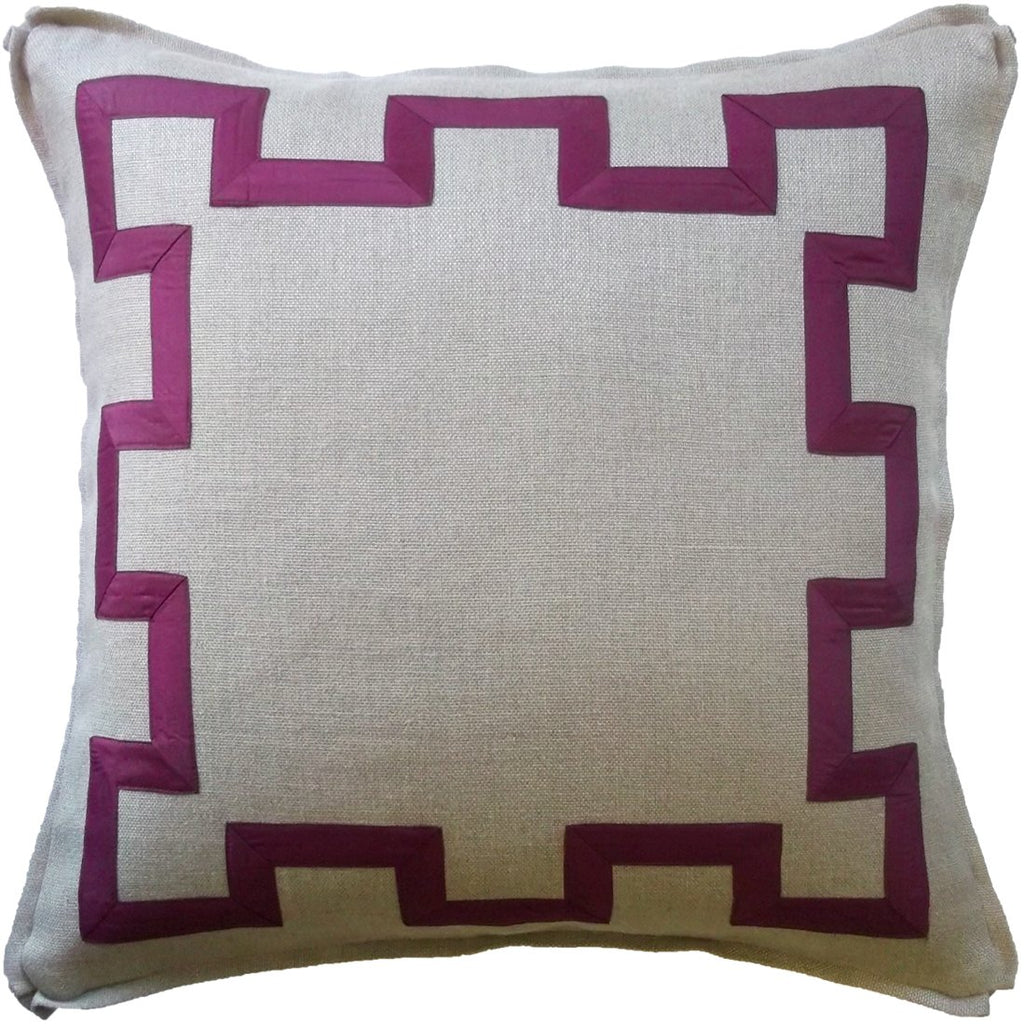 Raspberry Fretwork Pillow - Sarah Virginia Home