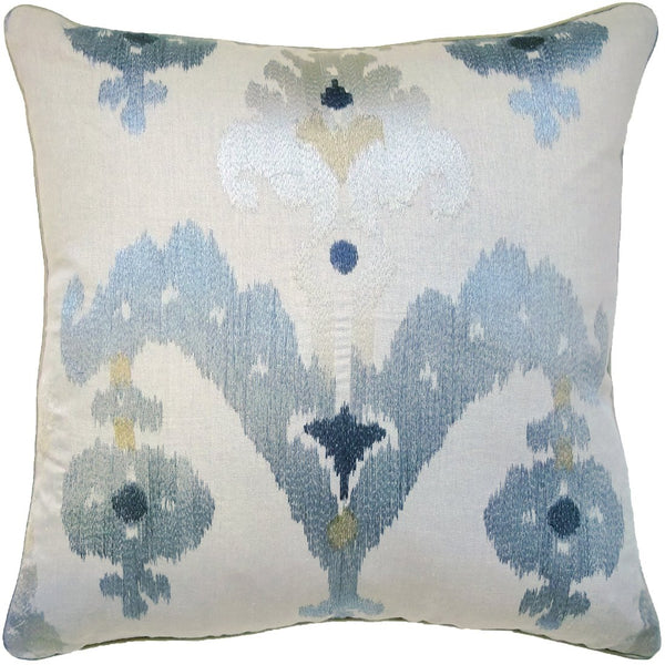 Embroidered Ikat Pillow (Sky) - Sarah Virginia Home