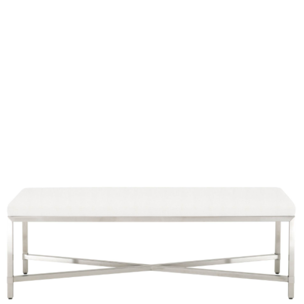 Strand Upholstered Bench (Silver) - Sarah Virginia Home