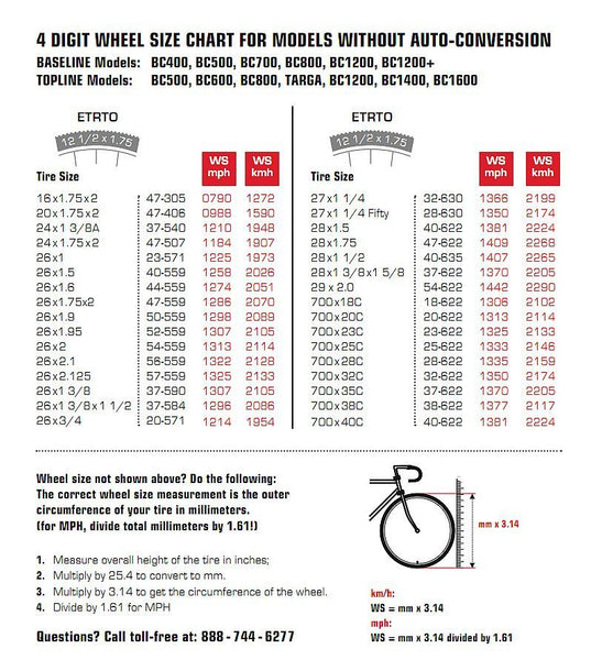 Bike tire size chart list