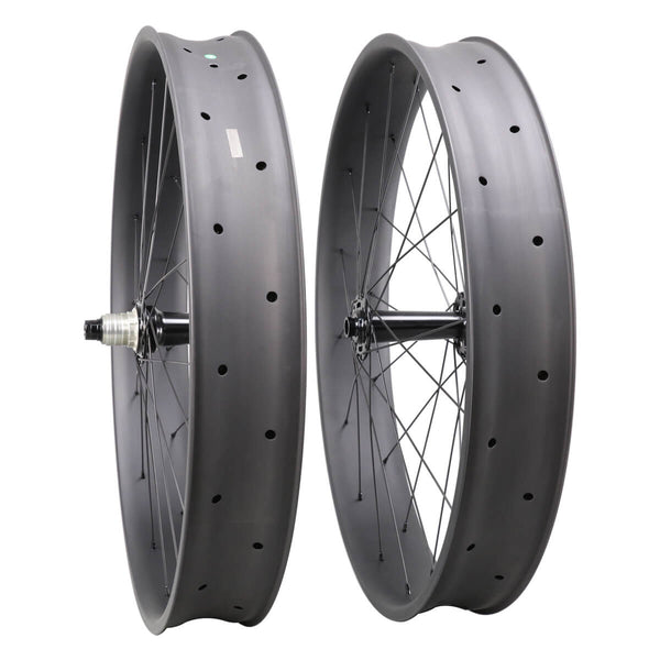 ICAN 26er Carbon Fat Bike Wheelset 90mm Clincher Tubeless Ready Powerway Hubs M74 Front 15x150mm Rear 12x190/197mm without Logos