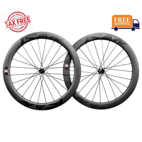 US Warehouse-ICAN Road Disc Wheelset 55mm Clincher Tubeless Ready 25mm Wide Novatec 411412SB hubs and Sapim CX Leader Round Spokes