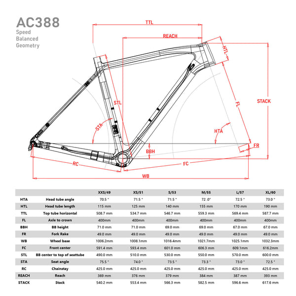 ICAN AC388 Carbon Cyclocross Frameset Geometry