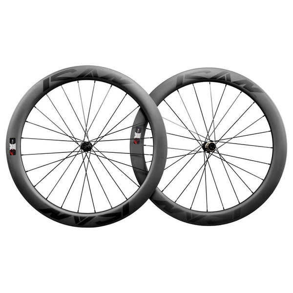 ICAN Road Disc Wheelset 55mm Clincher Tubeless Ready 25mm Wide Novatec 411412SB hubs and Sapim CX Leader Round Spokes