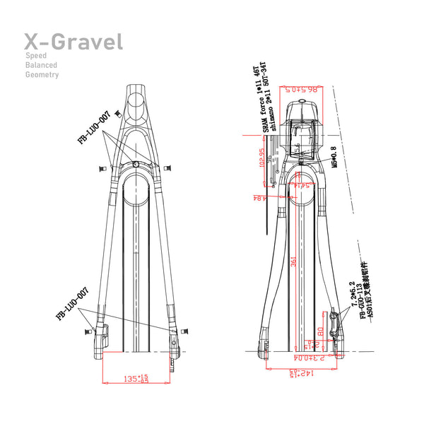 ICAN X-Gravel bike frameset voorvork Geometry