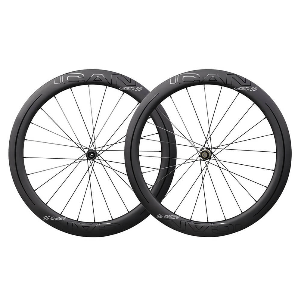 ICAN AERO 55 Road Disc Wheels Clincher Tubeless Ready Novatec D411412SB Disc Hubs QR and Thru Available