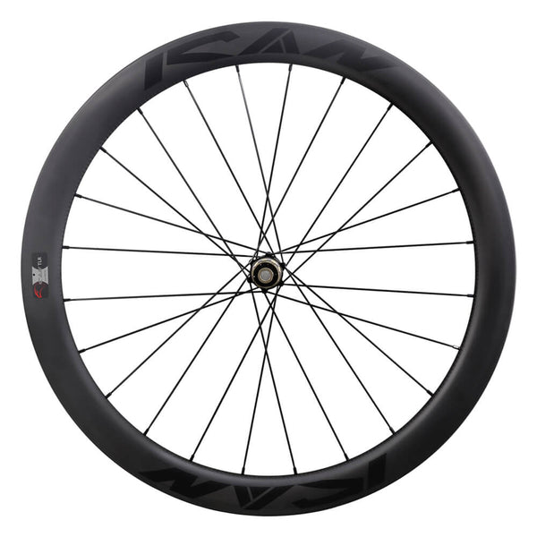 ICAN Road Disc Wheelset 50mm Clincher Tubeless Ready 25mm Wide Novatec 411/412SB hubs and Sapim CX Leader Round Spokes