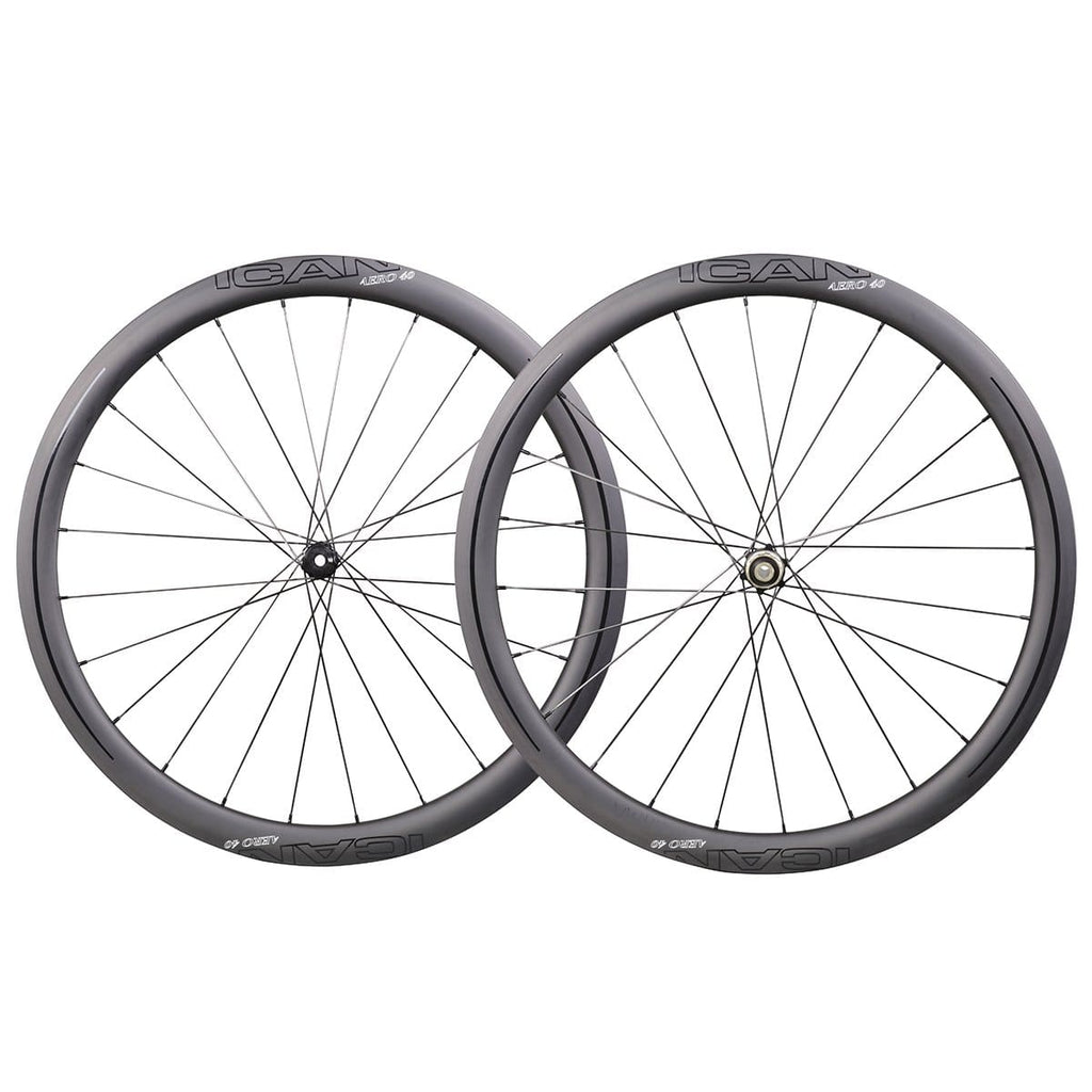 ICAN AERO 40 Road Disc Wheels Clincher Tubeless Ready Novatec D411412SB Disc Hubs QR and Thru Available