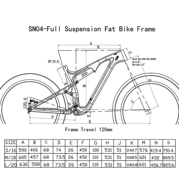 Geometry of ICAN Bicycle Frames 16 inch frame only Carbon Full Suspension Fat bike Frame SN04