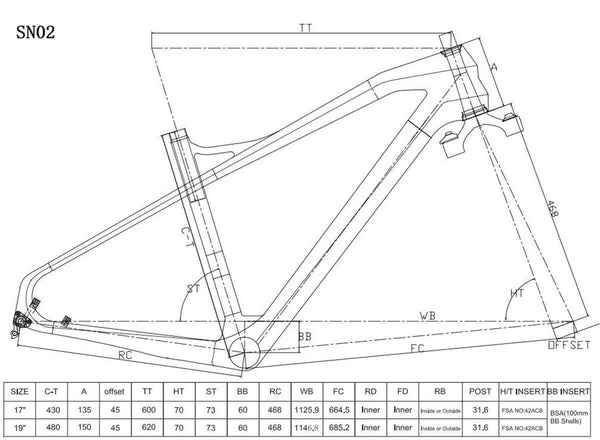 ICAN Bicycle Frames 17 inch frame only 26er Carbon Fat Bike Frame SN02
