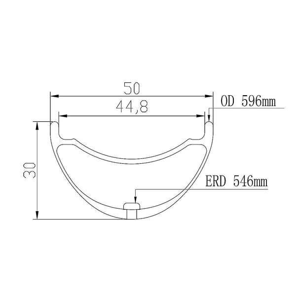 ICAN 27.5er 50mm Width Carbon Fat Bike Rim Geometry