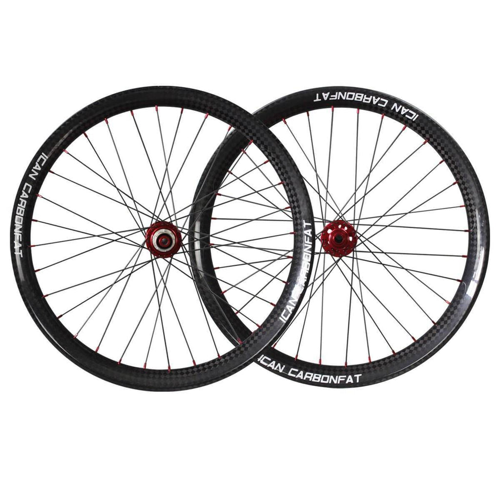 ICAN 26er Carbon Fat Bike Wheelset 65mm Clincher Tubeless Ready Powerway Hubs M74 Front 15x150mm Rear 12x190/197mm
