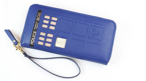 Royal Blue Wristlet Tardis - Diamond Wallets