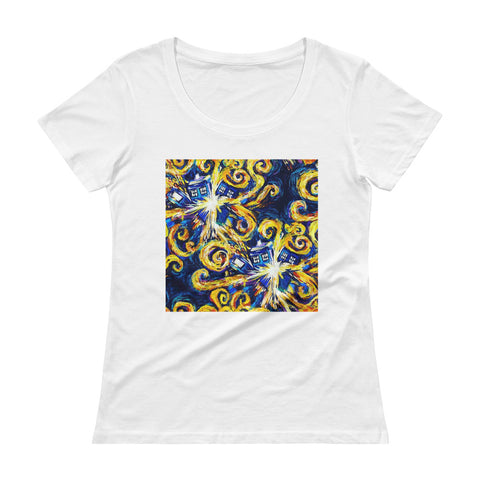 Van Gogh Ladies' Scoopneck T-Shirt Doctor Who - Diamond Wallets