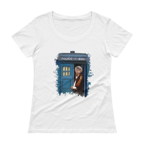 Doctor Who Back to The Future Ladies' Scoopneck T-Shirt - Diamond Wallets