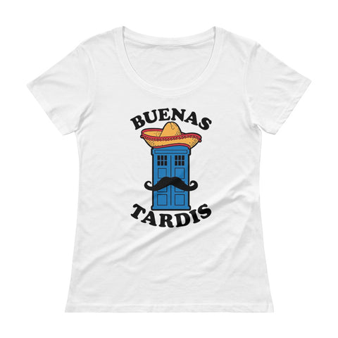 Buenas Tardis Doctor Who Ladies' Scoopneck T-Shirt - Diamond Wallets