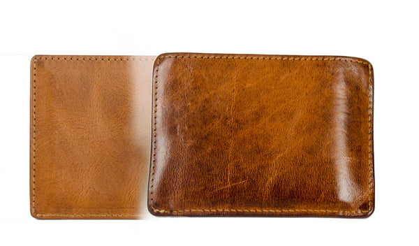 vegetable tanned leather front pocket wallets