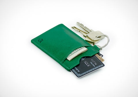 """Essential"" - Vegetable Tanned Leather RFID-blocking Key Wallet (green)"