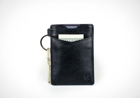 """Essential"" - Vegetable Tanned Leather RFID-blocking Key Wallet (black)"