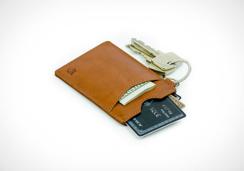 """Essential"" - Vegetable Tanned Leather RFID-blocking Key Wallet (caramel)"