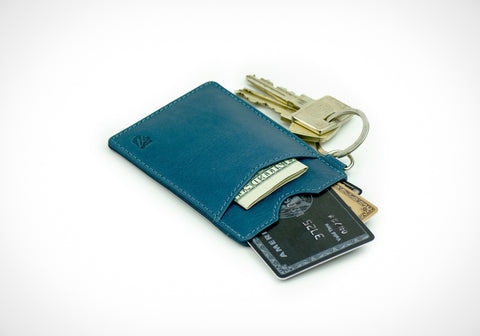 """Essential"" - Vegetable Tanned Leather RFID-blocking Key Wallet (blue)"