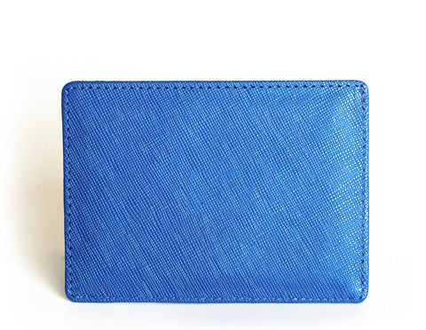 """Triumph"" Saffiano Leather RFID-blocking V-Shaped Wallet (blue)"