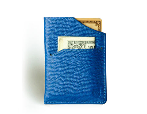 """Nano"" - Saffiano Leather RFID-blocking Mini Wallet (blue)"