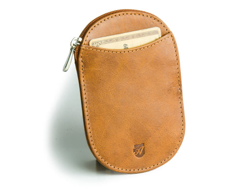 """Novelty"" - Vegetable Tanned Leather RFID-blocking Coin Wallet (caramel)"