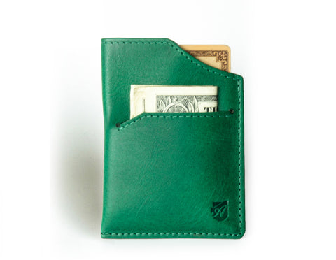 """Mirage"" - Vegetable Tanned Leather RFID-blocking Mini Wallet (green)"
