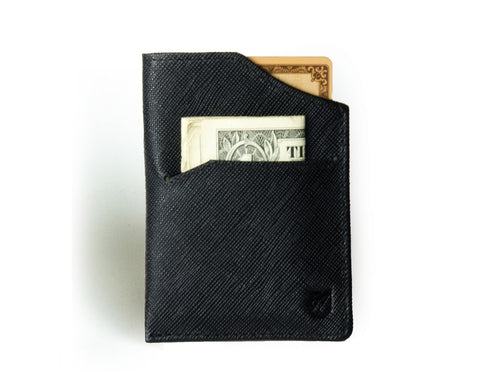 """Nano"" - Saffiano Leather RFID-blocking Mini Wallet (black)"
