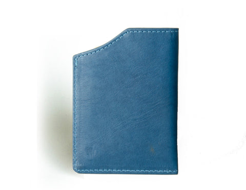 """Mirage"" - Vegetable Tanned Leather RFID-blocking Mini Wallet (blue)"