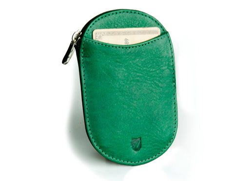 """Novelty"" - Vegetable Tanned Leather RFID-blocking Coin Wallet (green)"