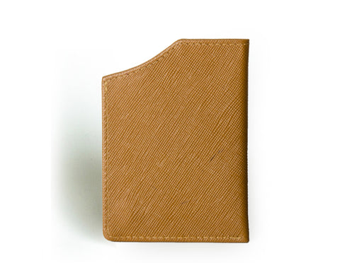 """Nano"" - Saffiano Leather RFID-blocking Mini Wallet (caramel)"